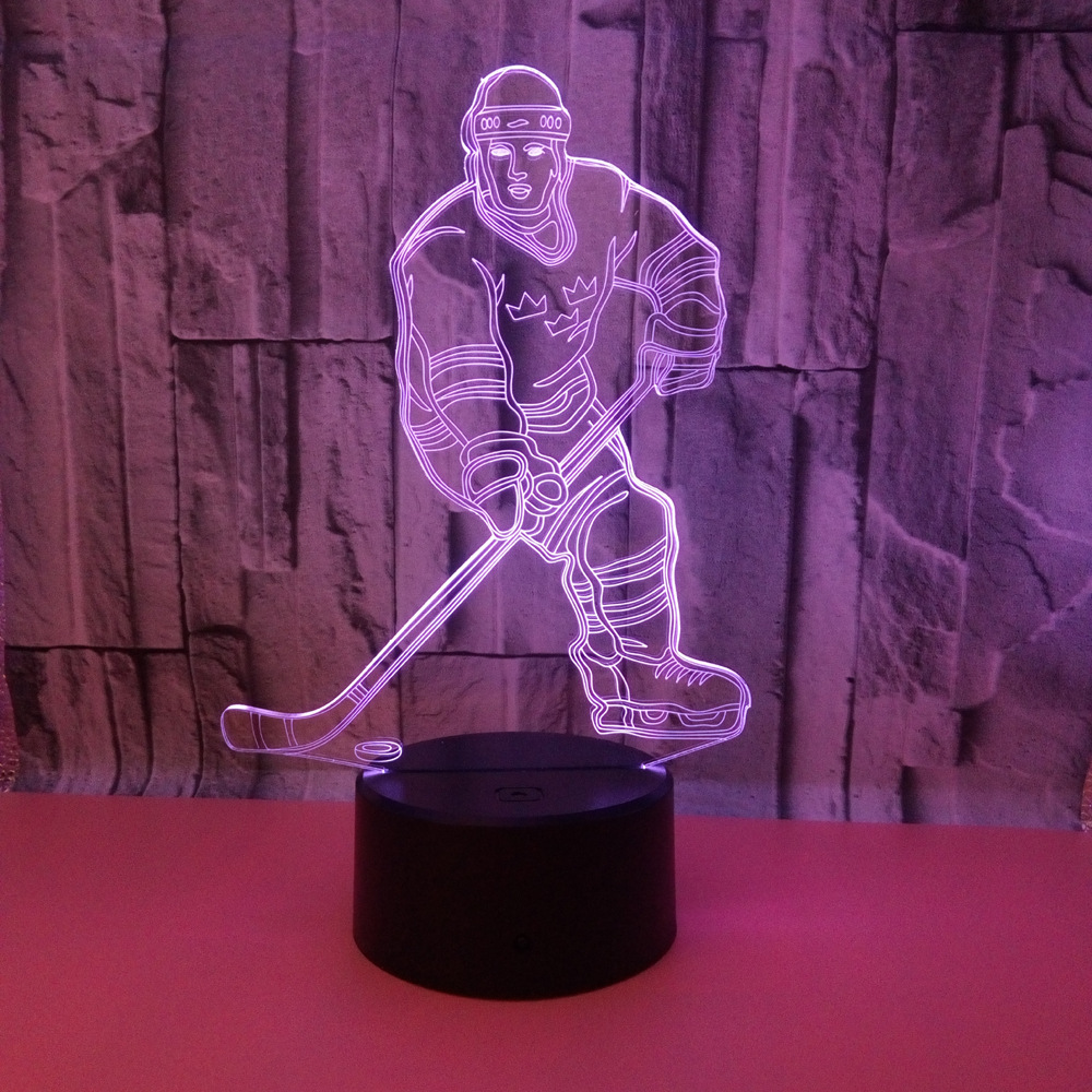 Ice Hockey Athlete 3D Led Night Lamp Led Illusion Lights 3D Colorful Changing USB Table Lamp as Gifts Sport Meeting Favors