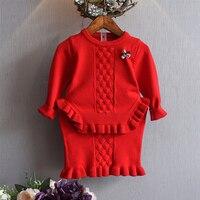 DreamShining Kids Ropa de Bebé Dulces Niñas Niños Ropa Conjuntos de Punto Suéter Falda Traje de Niño Traje de Niña Abrigos