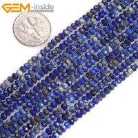 Gem-à l'intérieur AAANatural Facettes Heishi Rondelle Disque Spacer Bleu Lapis Lazuli Perles Pour Bijoux Faire Strand 15 inchees DIY