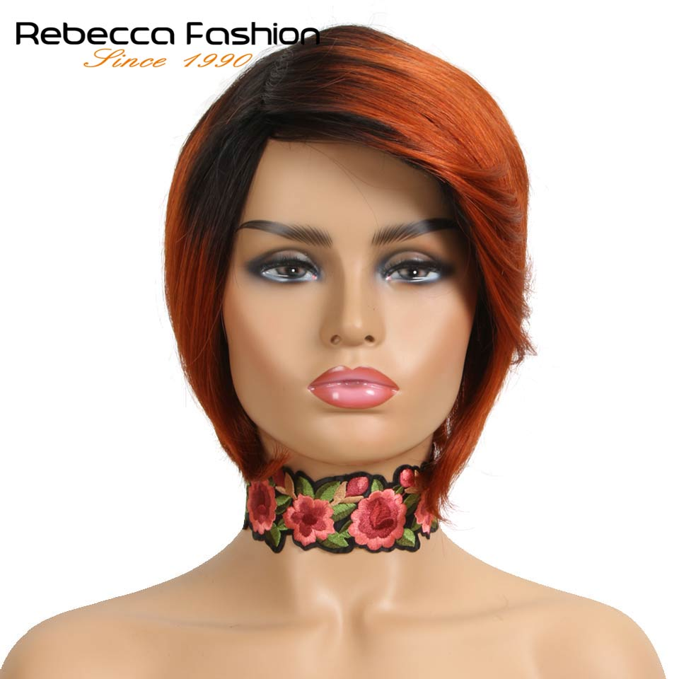 Rebecca Human Hair Wigs For Black Women Machine Made Non Lace Peruvian Fashion Straight Hair Short Wig Free Shipping