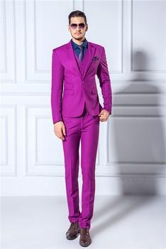2017 New Arrival Men Suits Slim Blazers Tuxedo (Jackets+Pants+Vest) Groom Prom Purple Wedding Dress Suits Stylish Wedding Suits