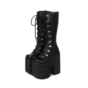 Image 2 - 16cm Topuk Motosiklet Botları Siyah Diz Yüksek Çizmeler Punk Cosplay Çizmeler Moda Goth Takozlar Platformu Yüksek Topuklu çizmeler kadın ayakkabıları