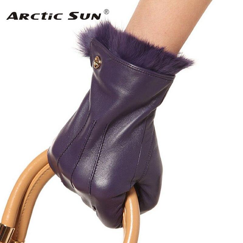Fashion 2019 Promotion Winter Gloves Genuine Leather Women Rabbit Hair Wrist Solid Real Sheepskin Glove Free