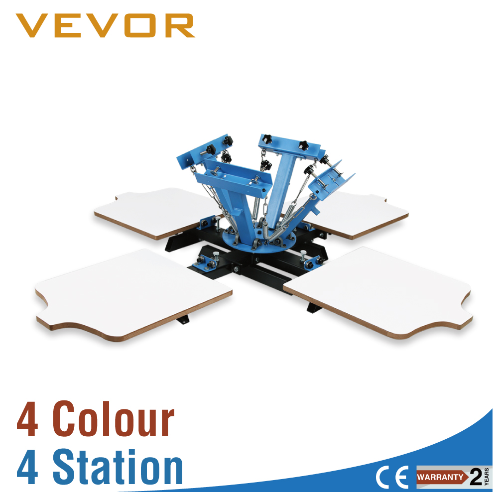 VEVOR 4 Color 4 Station Silk <font><b>Screening</b></font> Screenprint Press Screen Printing Machine for Sale image