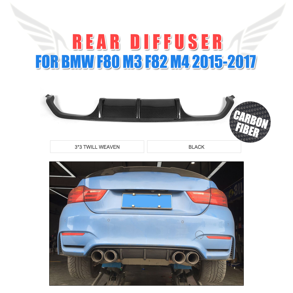 Rear Bumper Lip Diffuser Apron Spoiler or BMW F80 M3 F82 F83 M4 Convertible Coupe Sedan 2014 - 2017 Carbon Fiber / FRP Black цены онлайн
