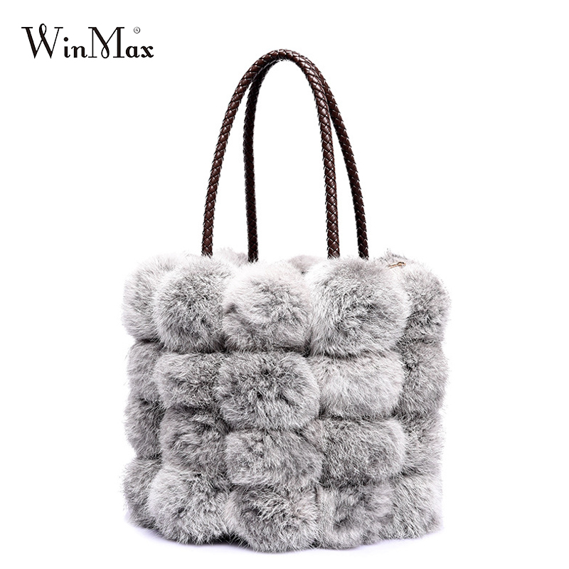 2017 NEW luxury famous design real fur women handbag soft rabbit hair fur string bucket shoulder bag elegant winter snow bag