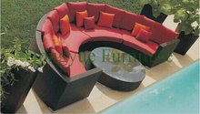 Patio rattan round sectional sofa set,outdoor furniture designs