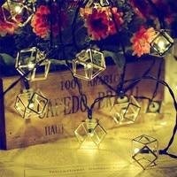 30 led屋外幾何メタルソーラーストリングライト多面体中空クリスマスツリーガーデン芝生パティオ結婚式パーティーの装飾ランプ