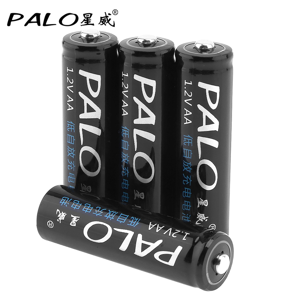 4pcs/lot PALO 1.2V 1300mAh AA Battery Ni-MH NiMH Rechargeable Battery with Over-Current Protection for Children Toy Mouse Camera image