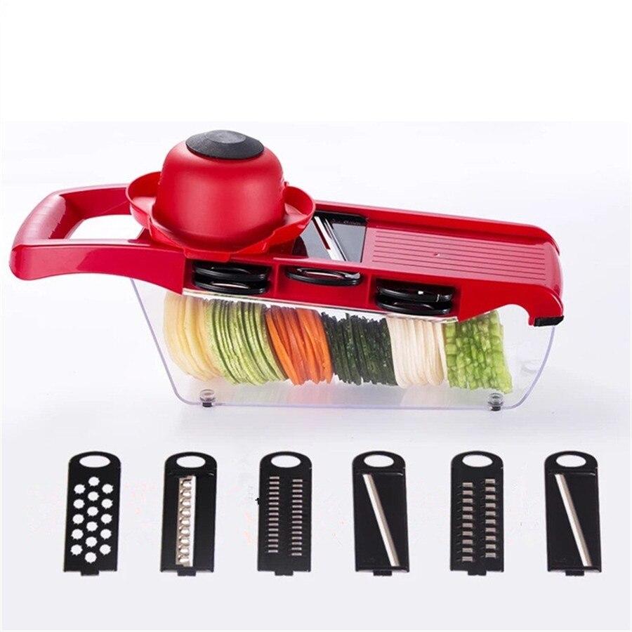 Mandolina Slicer cortador de verduras con hoja de acero inoxidable Manual de la patata Peeler zanahoria queso Grater Gadgets de cocina conjunto