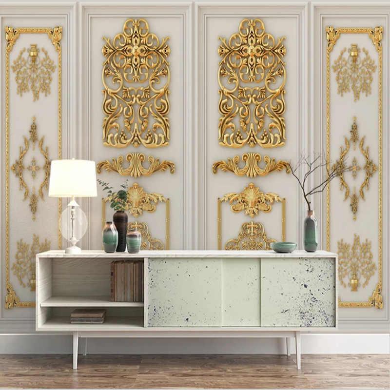 النمط الأوروبي ثلاثية الأبعاد ستيريو الذهب تنقش الزهور جدارية خلفية غرفة المعيشة أريكة التلفزيون غرفة نوم ديكور منزلي للرفاهية ورق حائط للجدار