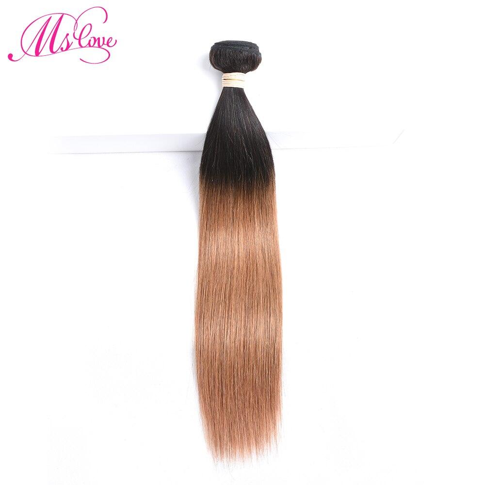 Ms Love Pre Colored T1B 30 Straight Hair Bundle 1 Piece Light Brown Non Remy Brazilian Human Hair Extension 100 Gram Per Bundle