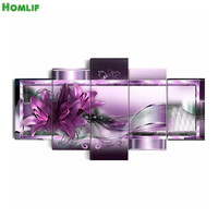5 Pcs Set Purple Flower Diamond Painting Cross Stitch Diy 5d Diamond Embroidery Full Square Diamond