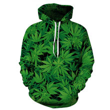 2018 Men/women 3d Hoodies Green Leaves Print Hooded Sweatshirts Casual Sportswear