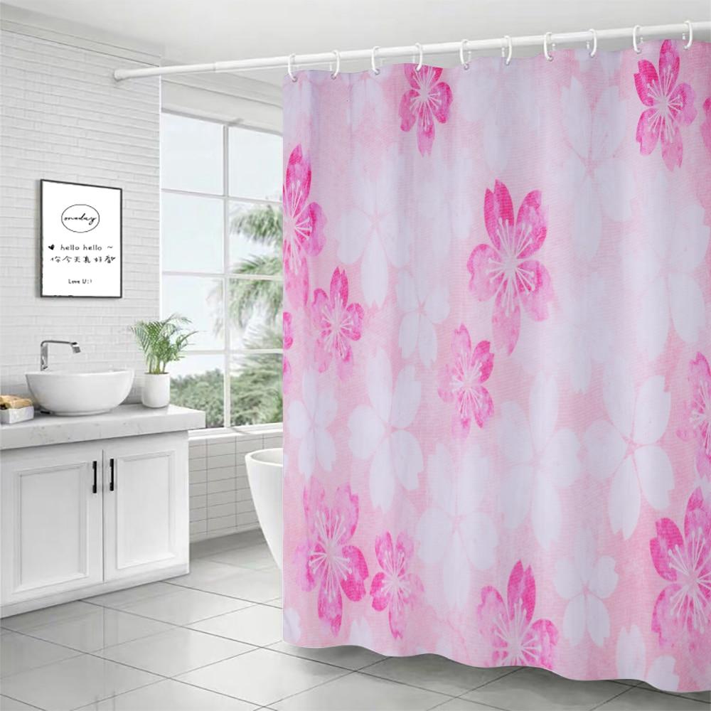 Cactus Pattern Bathroom Decor Polyester Fabric Shower Curtain Liner Doormat Set