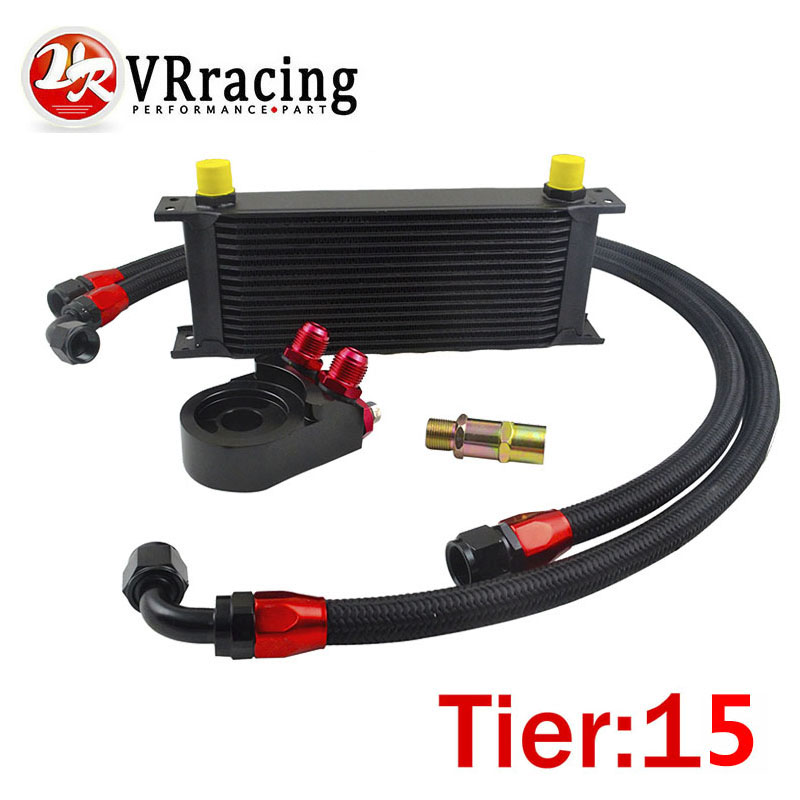 VR RACING - UNIVERSAL 15 ROWS OIL COOLER+OIL FILTER SANDWICH ADAPTER BLACK + SS NYLON STAINLESS STEEL BRAIDED AN10 HOSE universal nylon cell phone holster blue black size l