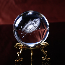 80mm 3D Laser Engraved Galaxy Miniature Crystal Ball Glass Decoration Ball Sphere Accessories Ornament Gifts
