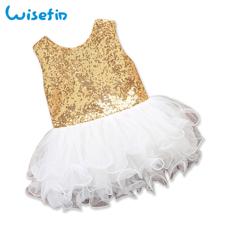 Wisefin Princess Dress Christening Bow Tie Tutu Baby Girl Baptism Dress Sequins Party Wedding Tulle Dresses Mini Bebes Clothes