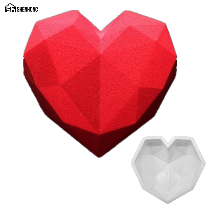 Shenhong Diamond Heart 3d Cake Moulds Silicone Mold