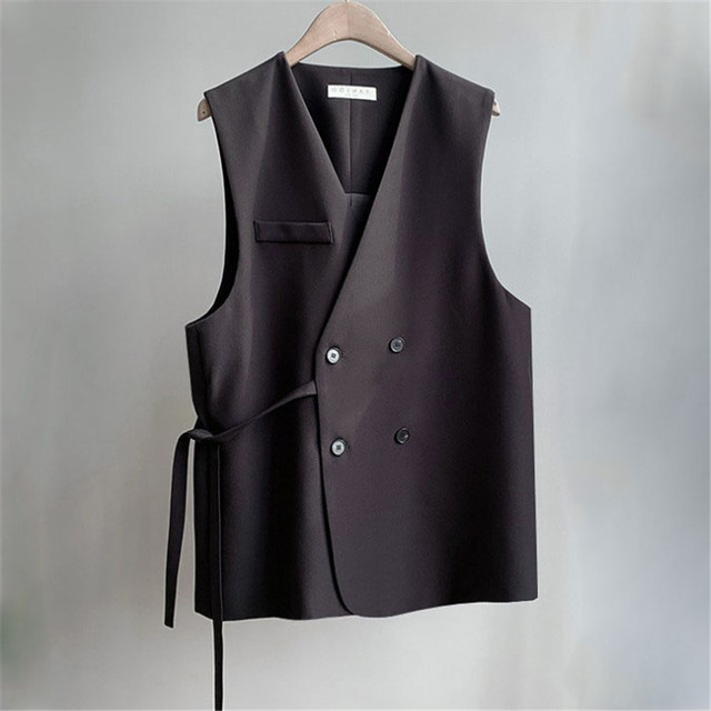d5a182346a96e Vintage Blazer Vest Women Casual Short Office Vests Sleeveless Jacket  Double Breasted Waistcoat for Woman Gilet Femme Ds50634