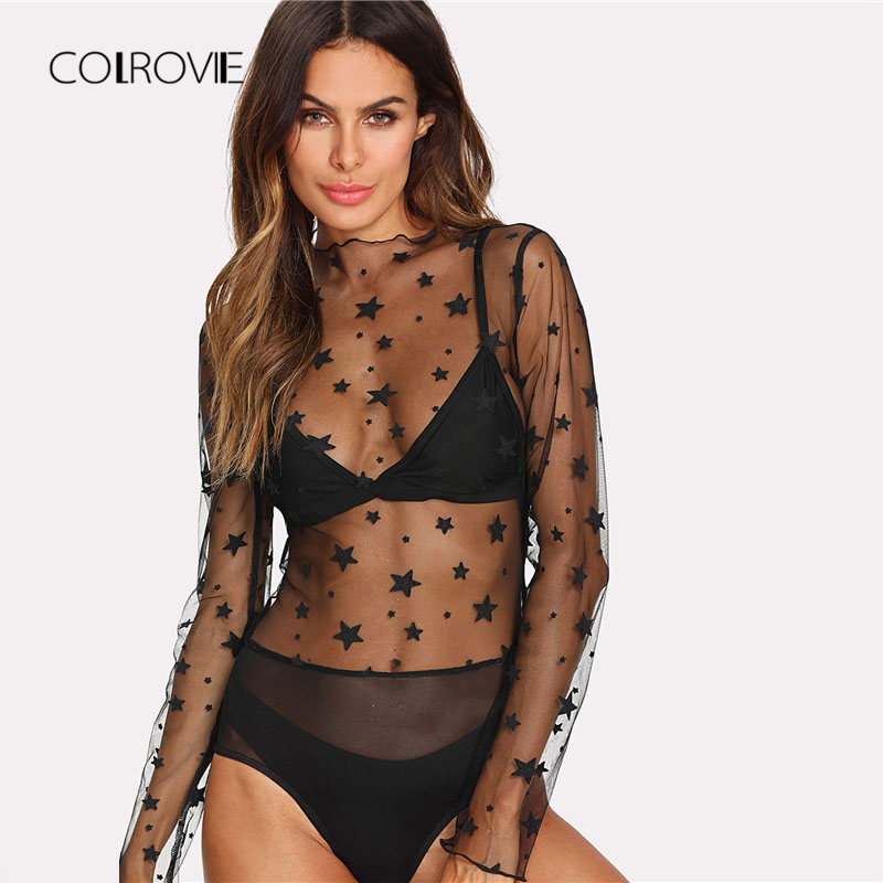 COLROVIE Transparent Star Pattern Mesh Bodysuit Women 2019 Spring Stand Collar Long Sleeve Sexy Bodysuit Black Skinny Bodysuit