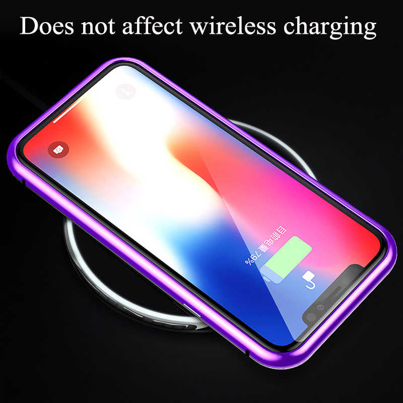 Магнитный адсорбционный Алюминиевый металлический бампер с ЧПУ, Гибридный прозрачный чехол из закаленного стекла для iPhone X XS Max XR 8 Plus