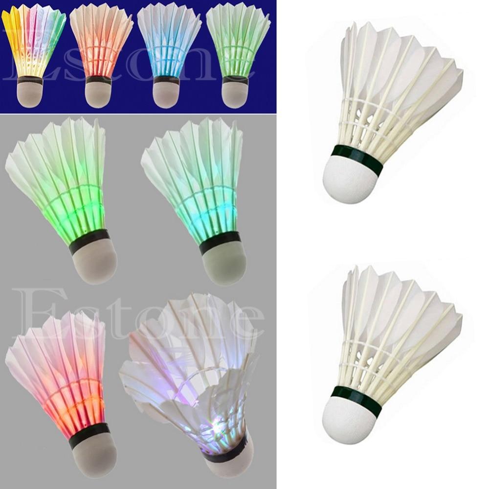 NEW 4pcs Lighting Badminton Dark Night Colorful LED Badminton Shuttlecock