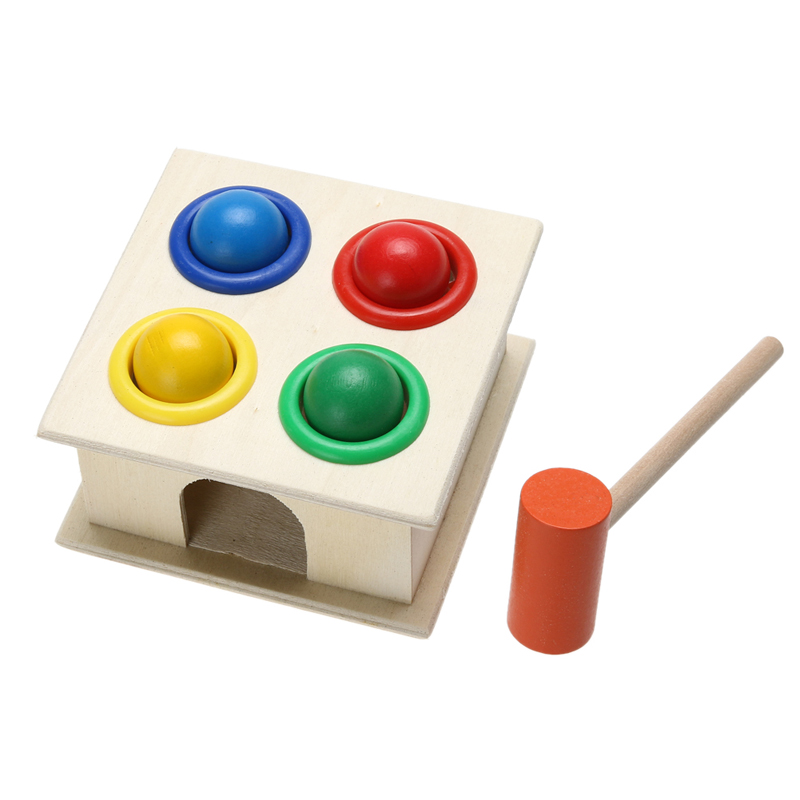 1Set Wooden Fun Playing Hamster Game Toy Hammering Ball Hammer Box Children Early Learning Educational Balls Knocking Toy kids children wooden block toy gift wooden colorful tree marble ball run track game children educational learning preschool toy