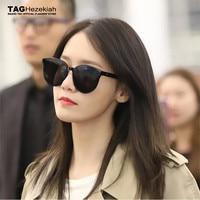 sunglasses women 2019 luxury brand big box design Korean superstar with the same paragraph Retro fashion Flat sun glasses men