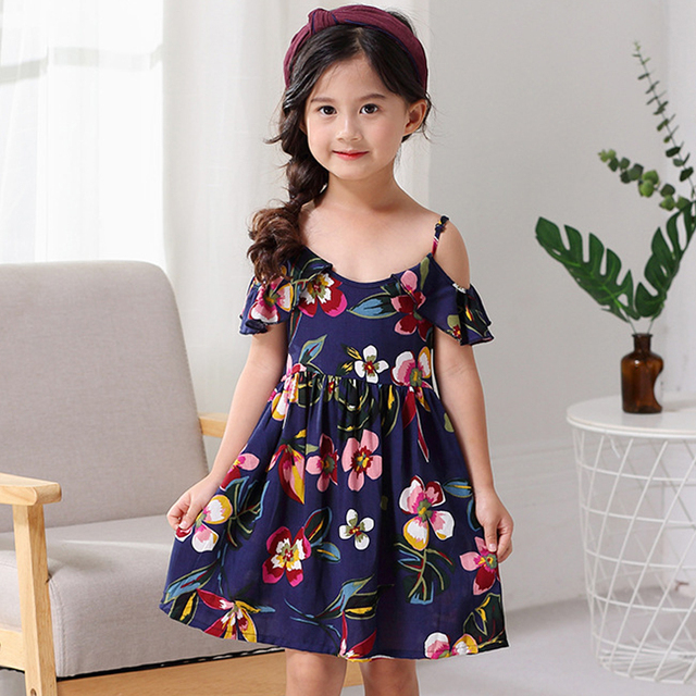 Girl/'s Floral Printed Summer Dress