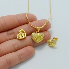 Zirconia Allah Heart Necklace/Earrings for Kids, Gold Color Small CZ Islam Jewelry Arab Muslim Necklace for Baby #040902