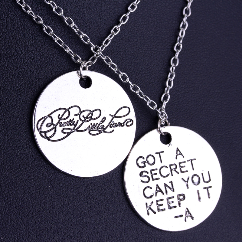 1set Fashion Movie Pretty Little Liars Got A Secret Can You Keep It Message Charm Necklace Girl Pendant Silver lover gift jewely