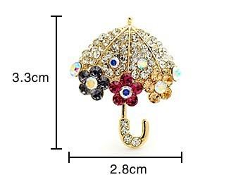 Rhinestone Crystals Umbrella Brooch