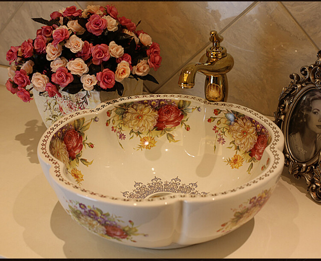 Free Shipping Rose Flower Ceramic Counter Top Wash Basin Bathroom Sinks natives and aliens