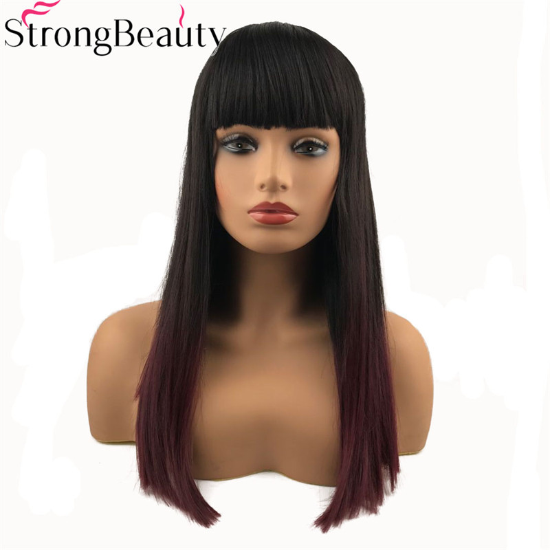 StrongBeauty Long Straight Wigs Synthetic Hair Darkest Brown And Red Ombre Wig ...