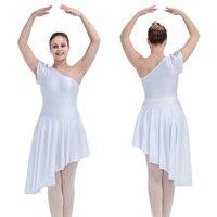 นักเต้นของทางเลือกสีขาวเงาไลคร่ารัดรูปชุดเต้นรำกระโปรงหนึ่งไหล่ประสิทธิภาพ