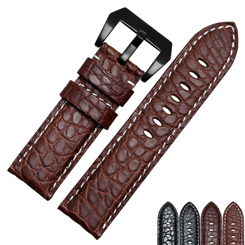 цена на 2016 NEW 22MM 24MM 26mm Black Brown real alligator leather watch band with Silver buckle Free shipping