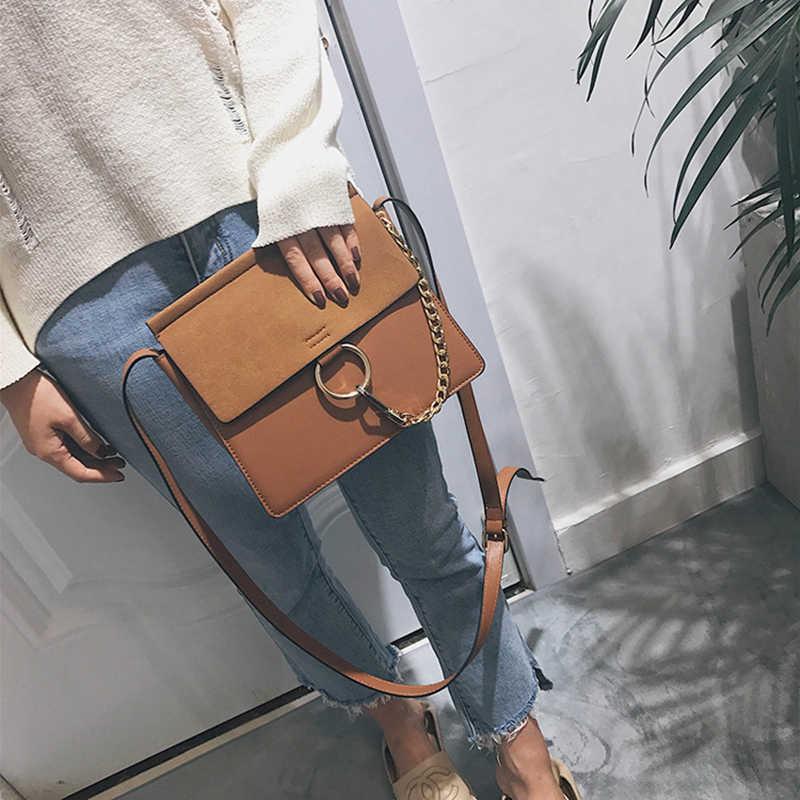 2018 Multifungsi Kualitas Tinggi Gaya Rantai Tas Fashion Retro Warna Solid Satu Bahu Diagonal Persegi Kecil Tas Wanita Tas Tangan