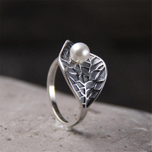 Vintage 100% S925 Sterling Silver Natural Shell Pearls Ring Leaf Finger Ring Adjustable Jewelry Gift цена