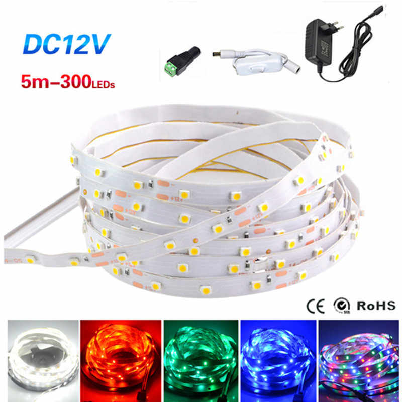 RGB LED Strip 2835 3528 5 M 10 M 1 M 2 M 3 M 4 M LED grow waterdichte Flexibele Diode Tape RGB DC 12 V LED + Power Adapter Strip Volledige Set