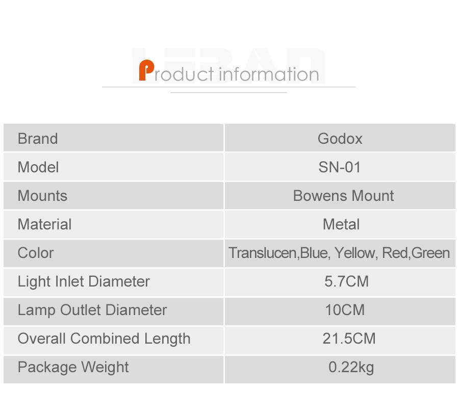 GODOX SN-01 Bowens large Snoot Studio Flash Accessories Professional Studio light Fittings13