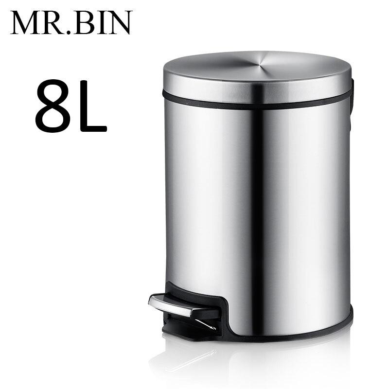 MR. BIN Макарон плюс мусорный бак с 5L/8L/12L ёмкость красочные педаль отходов Bin металлическая мусорная корзина для дома и кухня - Цвет: 8L Drawing Steel