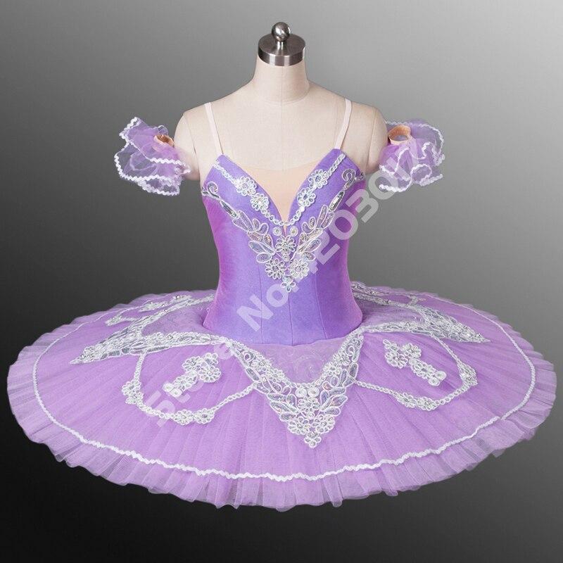 Фиолетовые профессиональные балетные пачки для взрослых, белые кружевные классические балетные платья, балетная пачка для сцены, блинная б