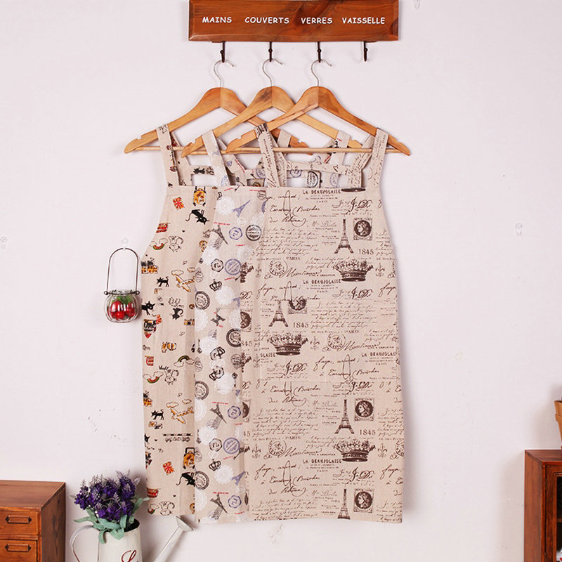 New European style creative fashion linen apron lady women working clothes kitchen cleaning household