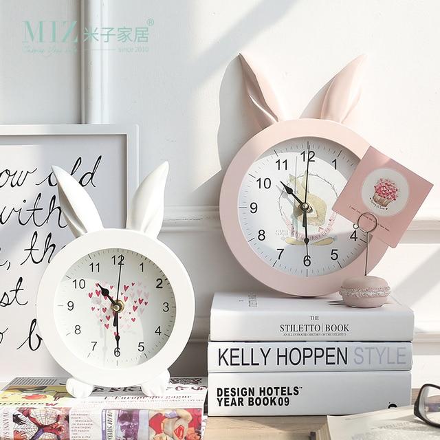Miz Home White Creative  Rabbit Ear Wooden Wall Quartz Watch Desktop Clock Art Home Decor stickers wall Watches for Girl Women