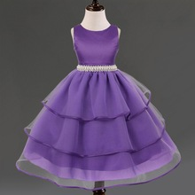 New 2-7years Kids Solid Color Ball Gown Multi Layered Tulle Dresses Ruffles Baby Girl's Dress Birthday Gift Children Vestidos