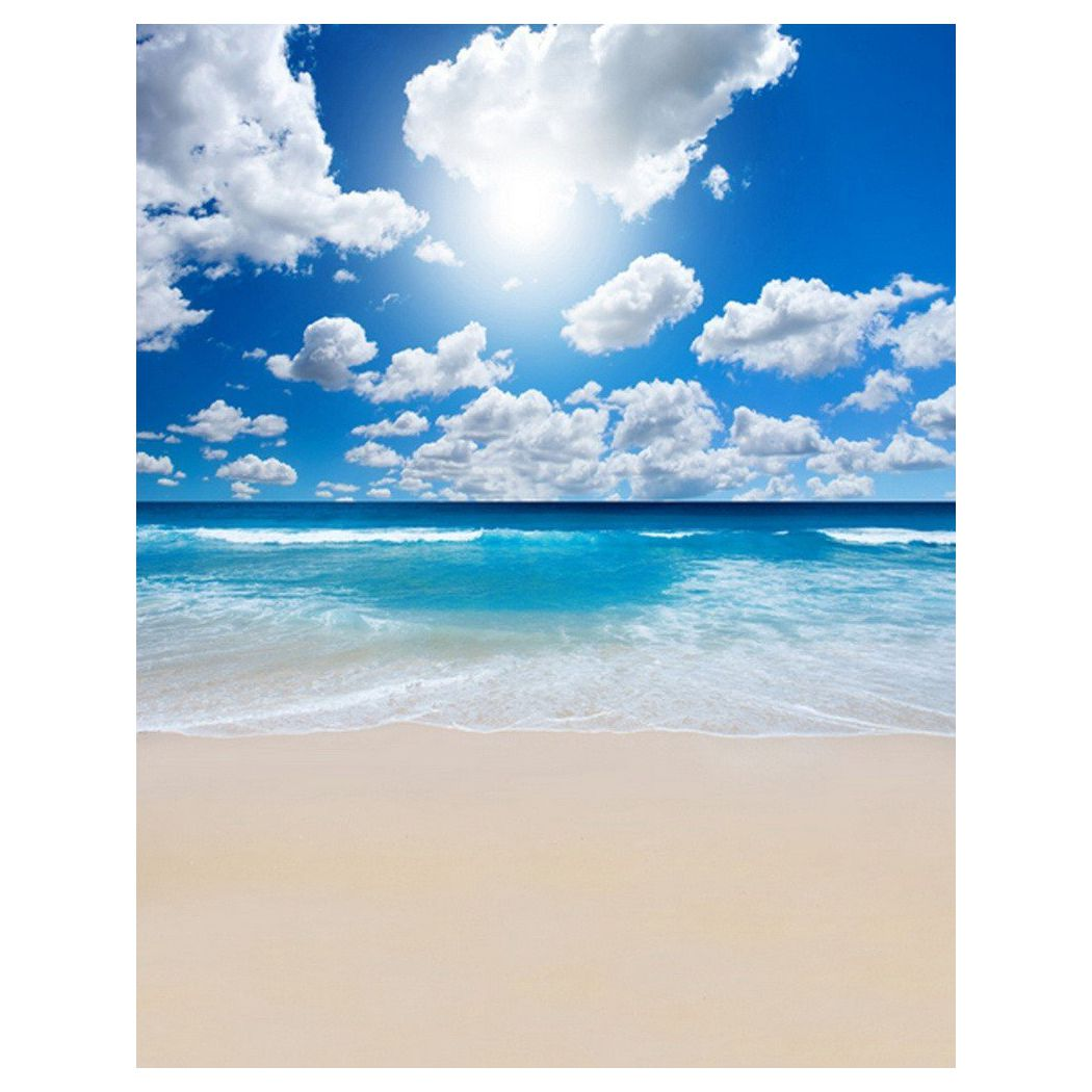 0.9x1.5m Computer Printed Fabric Vinyl Thin Photo Studio Props Photography Backdrops Blue Seaside Beach Sky Clouds Theme Quite