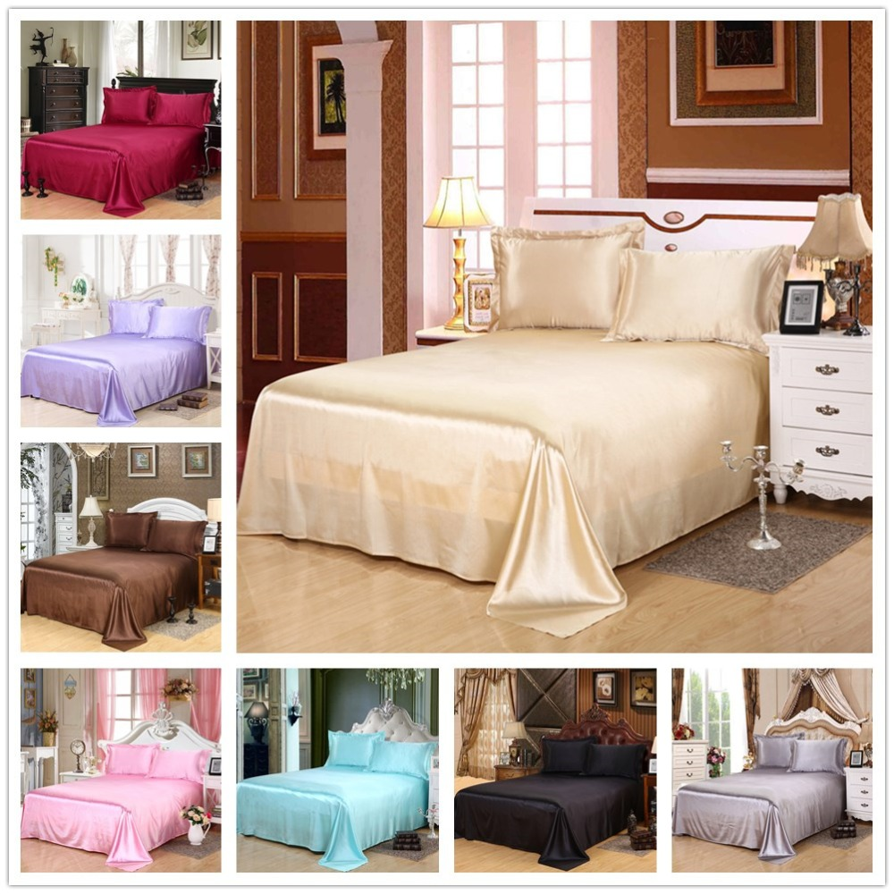 Luxury Solid Silky Bright Smooth Bedding Sheet Earthing Bedsheet Shams Bed Covers Double King Classic Satin Bed Flat Sheet Only