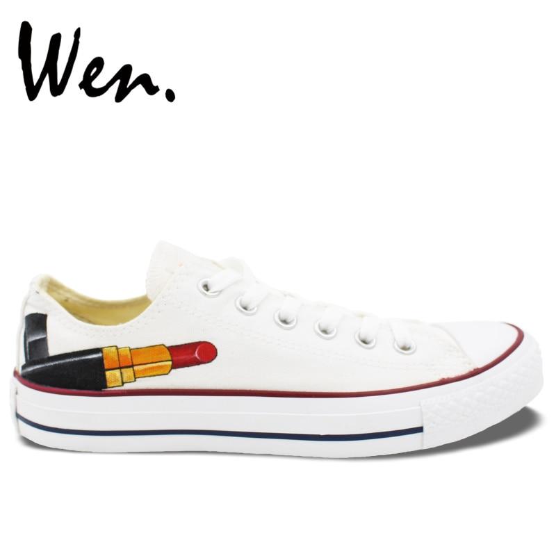 Prix pour Wen Vente Chaude Peint À La Main Chaussures Design Original Personnalisé Rouge Rouge À Lèvres Hommes Cadeaux de Femmes Low Top Blanc Toile Sneakers