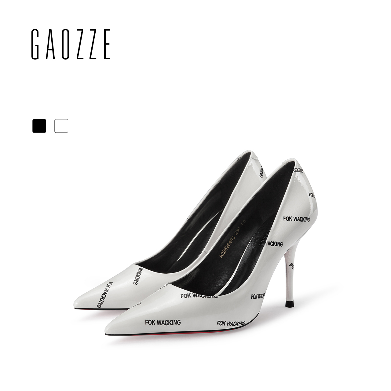GAOZZE Fashion Women Sexy High Heel Shoes Street Style Letter Printing Social Party Pointed Toe Shoes Pumps Women Shoes Leather gaozze fashion polka dot mesh women sexy stiletto high heel shoes pointed toe party shoes pumps women heels pumps 2018 spring